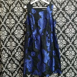 LANE BRYANT ] BLUE FLORAL ON BLACK DRESS